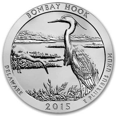 2015 5 oz Silver ATB Bombay Hook National Park Coin in Capsule
