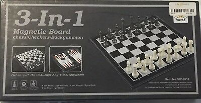 3-In-1 Chess/Checkers/Backgammon Magnetic Board Game