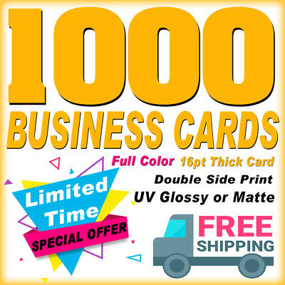 1000 Business Cards Real Printing-2 Sides Glossy or Matte-Limited Time-Free ship