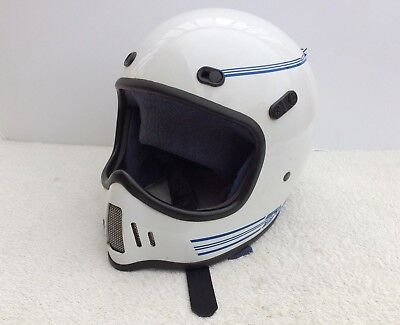 Vintage Bell Moto TNT 4 Motorcycle Helmet Mens Large DOT Dirt Bike White Blue