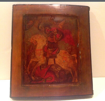 "ANTIQUE 19C RUSSIAN  ICON  ""SAINT GEORGE  and THE DRAGON""EGG TEMPERA ON WOOD"