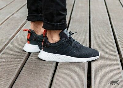 more photos 1a4b2 9eadc Mens Adidas NMD R2 Core Running Sneakers New, Black  Future Harvest CG3384