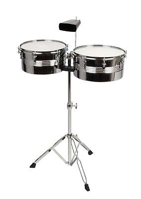 "Complete Timbales Drum Kit 13"", 14"" Cowbell Percussion Set Double Braced Stand"