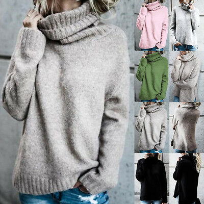 New Womens Winter Warm Polo Neck Oversized Tops Chunky Knitted Sweater Jumper AU
