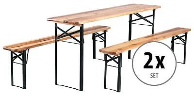 2x Ensemble Brasserie Table Banc Bois Pliable Meuble Jardin Terrasse Fete Bar