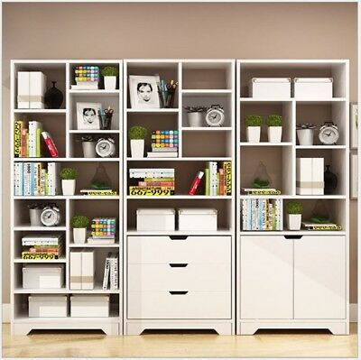 Display Bookcase Storage Unit Utility Bookshelf Home Office Cabinet White