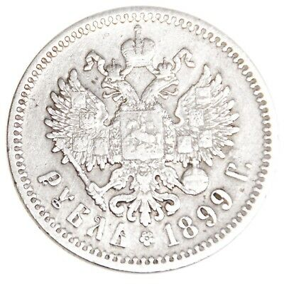 1899 Original Russia Empire 1 Rouble ФЗ F-VF Coin Silver Nicholas II 20.0 grams