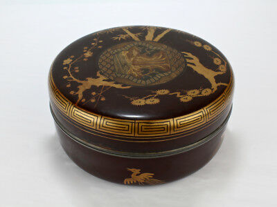 Antique Signed Round Meiji Period Japanese Lacquer Covered Box - Gold Silver VR