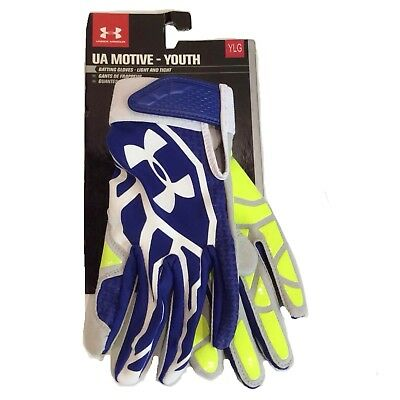 Under Armour Motive Blue White Batting Gloves Light & Tight Youth L (Large) $30