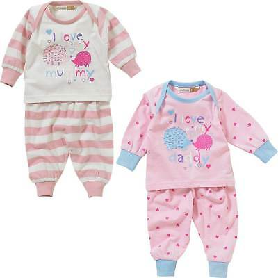 Lullaby Baby Girls I Love My Mummy or Daddy Long Sleeve Cotton Pyjamas 0-9mths