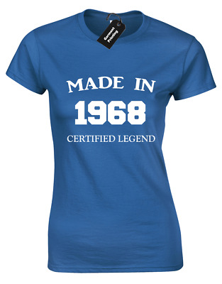 Made In 1968 Ladies T Shirt Funny 50Th Birthday Gift Present Idea Mum Dad Design