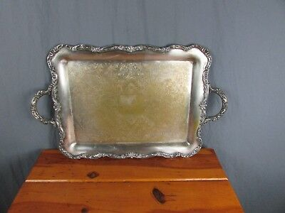 """WM Rogers Silver Plated Platter Tray Very Heavy 23"""" X 14"""" x 3/4"""" Ornate"""