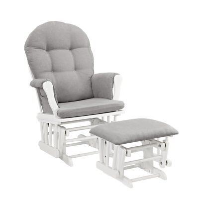 OpenBox Windsor Glider and Ottoman, White with Gray Cushion