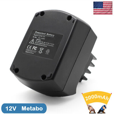 New 2.0Ah NI-MH 12V Replacement Battery For Metabo BSZ12 BS12SP Black 10 Cells