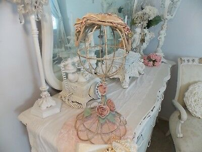 Shabby Vtg.pink  Tole Rose Hat Stand W/ Vintage Victorian Millenary Ladies Hat
