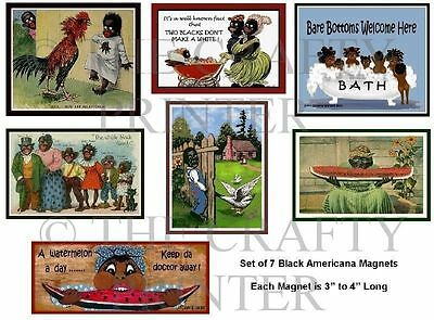 SET SEVEN MAGNETS -  Black Americana - Ship FREE