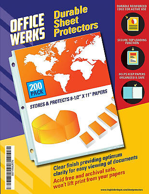 Clear Plastic Sheet Page Protectors Document Paper Cover Office Supplies 200 Pcs