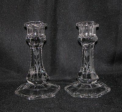 "Pair of Etched Glass Candlestick Candle Stick Holders 6"" Tall"