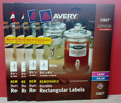 128 Avery 22827 White Rectangular Removable Labels, Laser Ink Jet   Free S/H