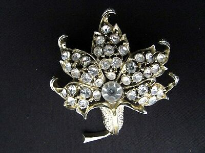 Vintage Flower Power Rhinestones Brooch~Pin Jack In The Pulpit Sparkling