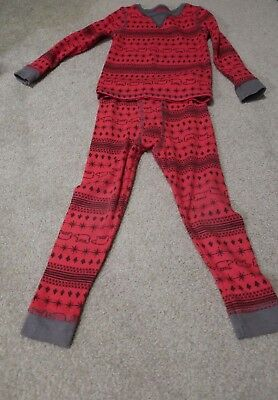 4T Toddler boy Cuddl duds red thermal snowflakes bears trees EUC