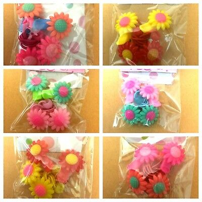NEW Baby Kids girls Hair Accessories FLOWERS Snaps Alligator Clips + BOBBLES Set