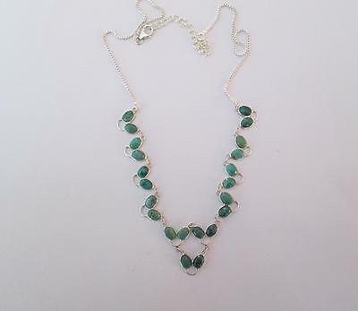 FREE P&P!!! Beautiful HAND MADE 20cts 22 Gems TURQUOISE Sterling Silver NECKLACE