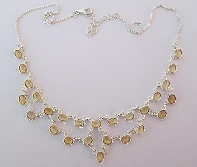 FREE P&P!!! STYLISH ELEGANCE!!! HAND MADE 26 Gems CITRINE Sterl Silver NECKLACE