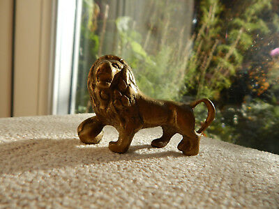 Vintage Brass Lion Figure With Ball Solid Brass -Small Brass Lion.