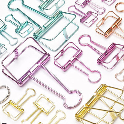 Hollow Metal Binder Clips File Paper Photo Organizer Hanging Stationery S/M/L