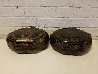 Vintage Pair of Chinese Lacquer Floral Decorated Boxes