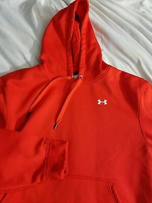 Under Armour large Loose cold gear Hoodie red orange Logo Storm1