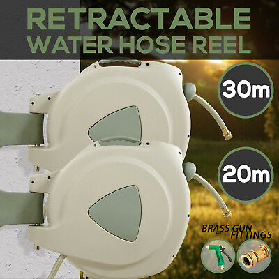 20m 30M Retractable Garden Water Hose Reel Rewind with Brass Fittings +SPRAY GUN