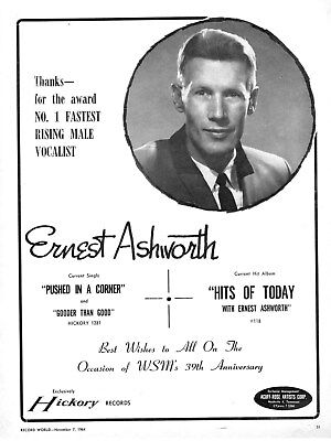 Ernest Ashworth  -  Hickory Records  -   Country Music Artist  -  1964
