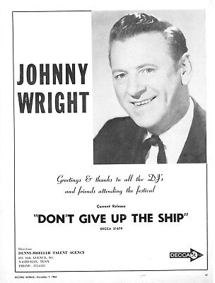 Johnny Wright -  Ruby Wright   -   Country Music Artists  -  1964 Original Ad