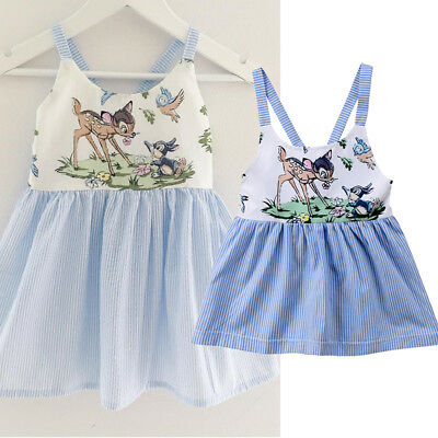Kids Baby Girl Animal Print Stripe Sling Blue Dress Party Skirts Outfits Summer