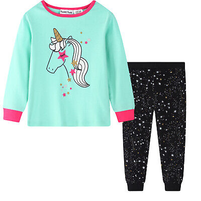 Girls PJS Size 3-7 Winter 2pc Long Pure Cotton Set (805) Mint Unicorn LAST ONE