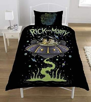 Rick and Morty Ufo Duvet Set, Polyester-Cotton, Multi-Colour, Single | Brand New