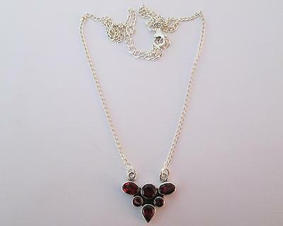 FREE P&P!!! HAND MADE LUXURY!! 4.50ct MultiShape GARNET Sterling Silver NECKLACE