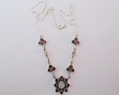 FREE P&P!!! RARE & HAND MADE 16cts 23 Gems GARNET & MOONSTONE St Silver NECKLACE