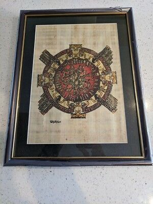 Egyptian Hand-painted Papyrus Artwork: Ancient Egypt Circular Zodiac calendar