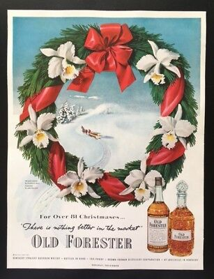 1951 Old Forester whiskey John Howard holiday wreath Christmas vintage print ad