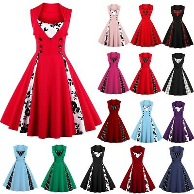 AU Ladies Womens Vintage Swing Pinup Retro Prom Dress 50S 60S ROCKABILLY DRESSES