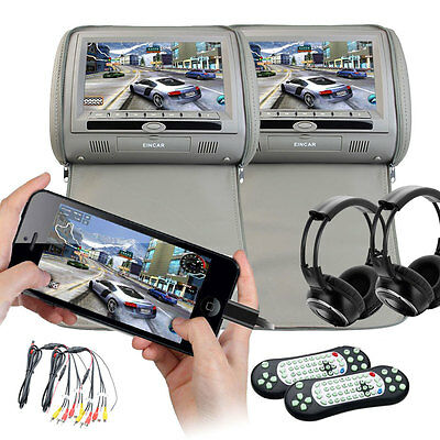 "2X HDMI 7"" LCD Car Pillow Headrest Monitor Portable DVD Player Game IR Headset"