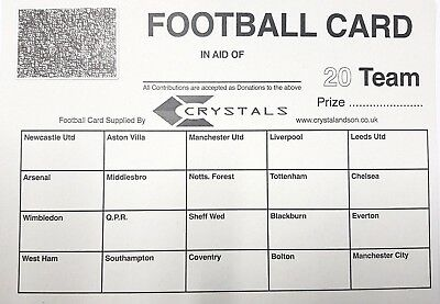 10 x 20 TEAM FOOTBALL FUNDRAISING SCRATCH CARDS GREAT QUALITY