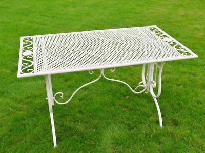 Ornate Scrolled Victorian Garden Table in Rustic White