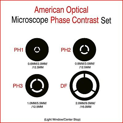 Phase Inserts For American Optical Microscope  - 12.5mm / 16mm  Diameter.