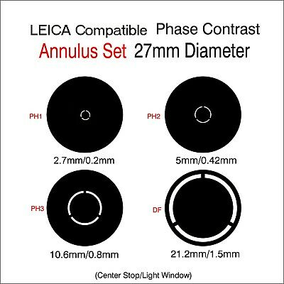 Phase Contrast Set 27mm Diameter  Compatible w/  LEICA Microscope