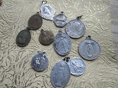 lot of 11-- Antique-Vintage from silver & brass -Alluminium-Our Lady-
