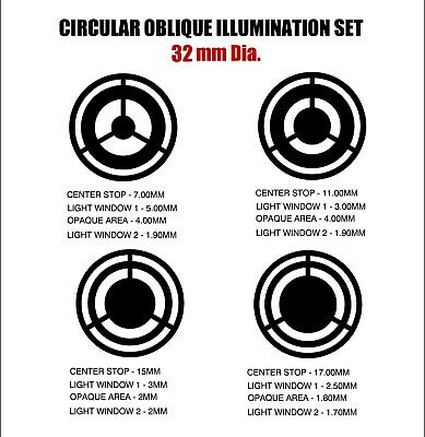 32mm and other Dia.  Circular Oblique Illumination COL Microscope Filter Set